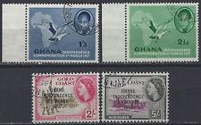 GHANA – 1957 – Independence (Sc 2, 4, 11, 12; SG 167, 169, 176, 177) canceled