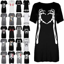 Womens Halloween Skeleton Bones Heart Tunic Short Sleeve Mini T-Shirt Dress Top