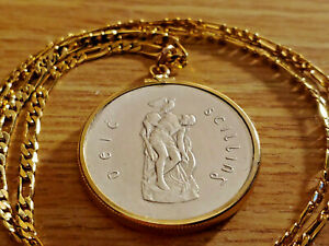 "1916-1966 Irish Silver Cuchulaine Coin Pendant 24"" 18KGF GOLD FILLED LINK CHAIN"