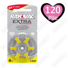 120 Pile Batterie protesi acustiche apparecchi acustici RAYOVAC 10 Gialle PR70