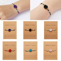 Women Handmade Natural Stone Charm Bracelet Bangle Friendship Card Jewelry Gift
