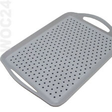 ANTI-RUTSCH Tablett 45 x 32 Kunststoff Serviertablett Noppen Grau Betttablett