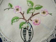 Gorgeous Vase of Pink Briar Roses  - Vintage Hand embroidered Doily