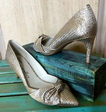 NIB Anthropologie Bettye Muller gold silver Bridal Muted Metallic Bow Pumps 7