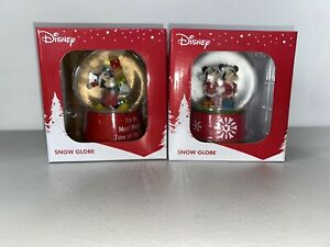 2 X DisneyMickey Mouse & Minnie Mouse Christmas Snowglobe 2020 New In Box