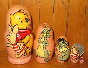 Winnie Pooh Piglet Tigger Eeyore Disney 5 SLIGHT SECONDS small Matryoshka dolls
