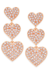 Kate Spade Yours Truly Heart Earrings NWT Sparkling Sculptural Rose Gold Beauty!
