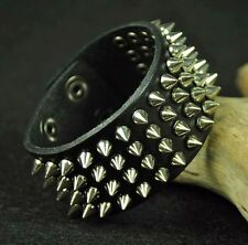 Sliver Rivet Rock Punk Biker Metal Studded Leather Wristband Bracelet Cuff Snap