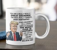 Donald Trump funny coffee mug gift for Grandma from grandkids, President tea cup