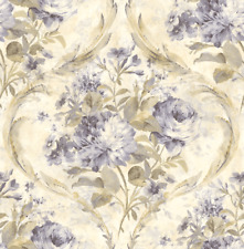 Floral Wallpaper Vintage Purple Green Cream Victorian Damask Chinoiserie