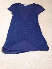 Navy Blue T-shirt con allegate vedere attraverso Cardigan-Gilet, Taglia Small