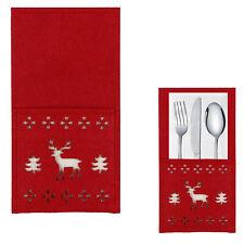 Christmas Tableware - Set of 6 Red Felt Napkin / Cutlery Holders