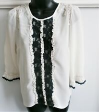 River Island 3/4 SLEEVE Cream Black Lace Blouse Sequins Pearls Detail 10 UK