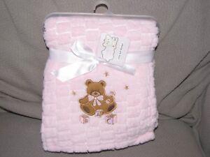 SNUGLY BABY ULTRA SOFT BLANKET PINK BLOCK TEDDY BEAR STAR RATTLE ABC GIRL NEW