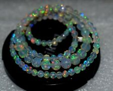 A+++ Natural Ethiopian Opal Faceted Balls Flashy Fire Balls Necklace 3X6 MM.