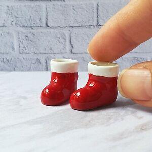 Dollhouses Miniatures Ceramic Vase Pot Santa Claus Boots Christmas Gift Set x2