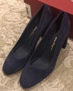 $650 New Salvatore Ferragamo Womens Shoes Ladies Navy Heels Size 8.5 C US 38.5