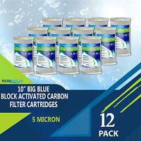"""12 pcs Big Blue CTO Carbon Block Water Filters 4.5"""" x 10"""" Whole House Cartridges"""