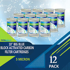 "12 pcs Big Blue CTO Carbon Block Water Filters 4.5"" x 10"" Whole House Cartridges"