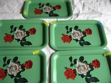 Vtg TV Tole Metal Serving Tray set of 5  GREEN Red White Roses 14 X 9