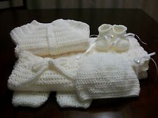 NEW Handmade Crochet Baby Blanket Afghan set ( white ) Newborn