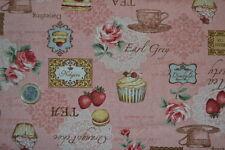tissu patchwork toile de lin motifs tea time sur fond rose 45x55cm