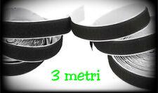 3 METRI VELCRO STRAPPO ADESIVO da 2 cm completo maschio+femmina nero
