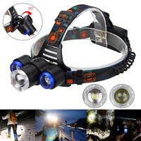 Zoom 15000Lm 3x XM-L T6 LED Headlight Flashlight USB Headlamp 2x18650 Charger