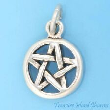 Small Pentagram 5-Pointed Star Pentacle In Disc 925 Solid Sterling Silver Charm