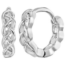 """Rhodium Plated Braided Huggie Hoop Earrings for Girls Teens 0.39"""""""