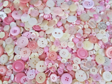 100 PRETTY PRINCESS BUTTONS, ASSORTED STYLES, PINKS, WHITES, IVORY, PEARL