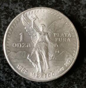 1982 Mexico 1 Onza Libertad Winged Victory 1 oz .999 Silver Plata Pura. #566