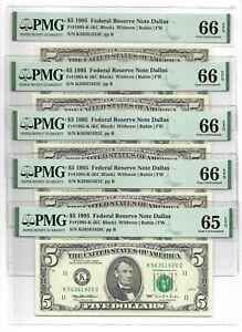 1995 $5 DALLAS FRNs, 5 CONSECUTIVE & PMG GEM UNCIRCULATED 65/66 EPQ BANKNOTES