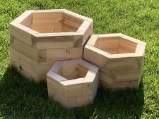 Set Of Hexagonal Wooden Planters