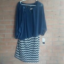 Perceptions NWT Dress 20w blue White Geometric Women