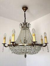 12 fl. alter großer Deckenlüster Frankreich Kristalllampe Korblüster Ø70cm