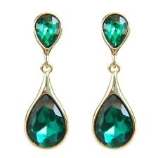 Navachi Water-drop 18K GP Crystal Green Nature Zircon Ear Stud Earrings BH1113