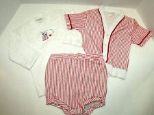 Vintage Scout-Tex Eversized Baby Size M Red & White Striped 3 Piece Outfit