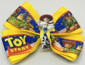 """Girls Hair Bow 4"""" Wide Toy Story Jessie Yellow Ribbon French Barrette"""