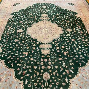 New Floral Oriental Rug Handmade in India, Soft Pile, Hunter Green & Pink 9x12