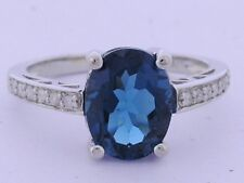 R169 Genuine 9ct Solid Yellow Gold NATURAL London Blue Topaz & Diamond Ring sz N