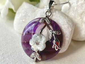 Circle Amethyst Real Stone & Flower pendant on Long Snake Silver chain necklace