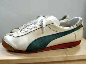 Puma Orion Leather White x Green Men's size US8 26cm Rare Model 70s-80s Vintage