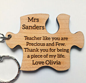 Personalised Teacher Gift Thank You Puzzle Piece Keyring