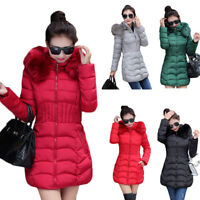Lady Down Jacket Cotton-padded Clothes Long Coats Slim Fit Fur Hooded Warm Tops