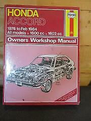 351 Haynes Manual Honda Accord 1600cc 1602cc 1976 - Feb 1984 All Models