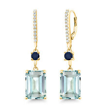 14.28 Ct Simulated Aquamarine & Sapphire 18K Yellow Gold Plated Silver Earrings