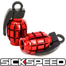 2 RED ANODIZED GRENADE VALVE STEM CAP KIT/SET FOR MOTORCYCLE TIRES M2