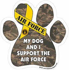 Dog Magnetic Paw Decal - My Dog And I Support The Air Force - Made In USA