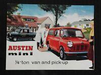 "1964 ""THE AUSTIN MINI 1/4-TON VAN & PICK-UP"" AUTOMOBILE CATALOG SALES BROCHURE"